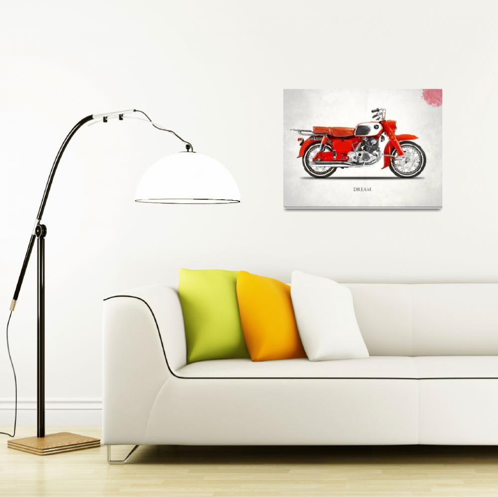 """""""The Honda Dream Classic Motorcycle&quot  by mark-rogan"""