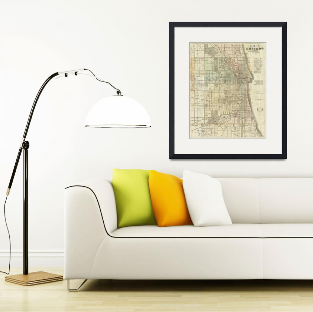 """""""Vintage Map of Chicago (1857)&quot  by Alleycatshirts"""