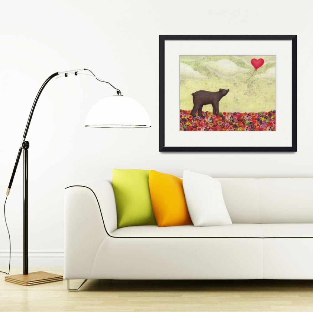 """""""the bear and the heart shaped balloon&quot  (2016) by sarahkdesigns"""