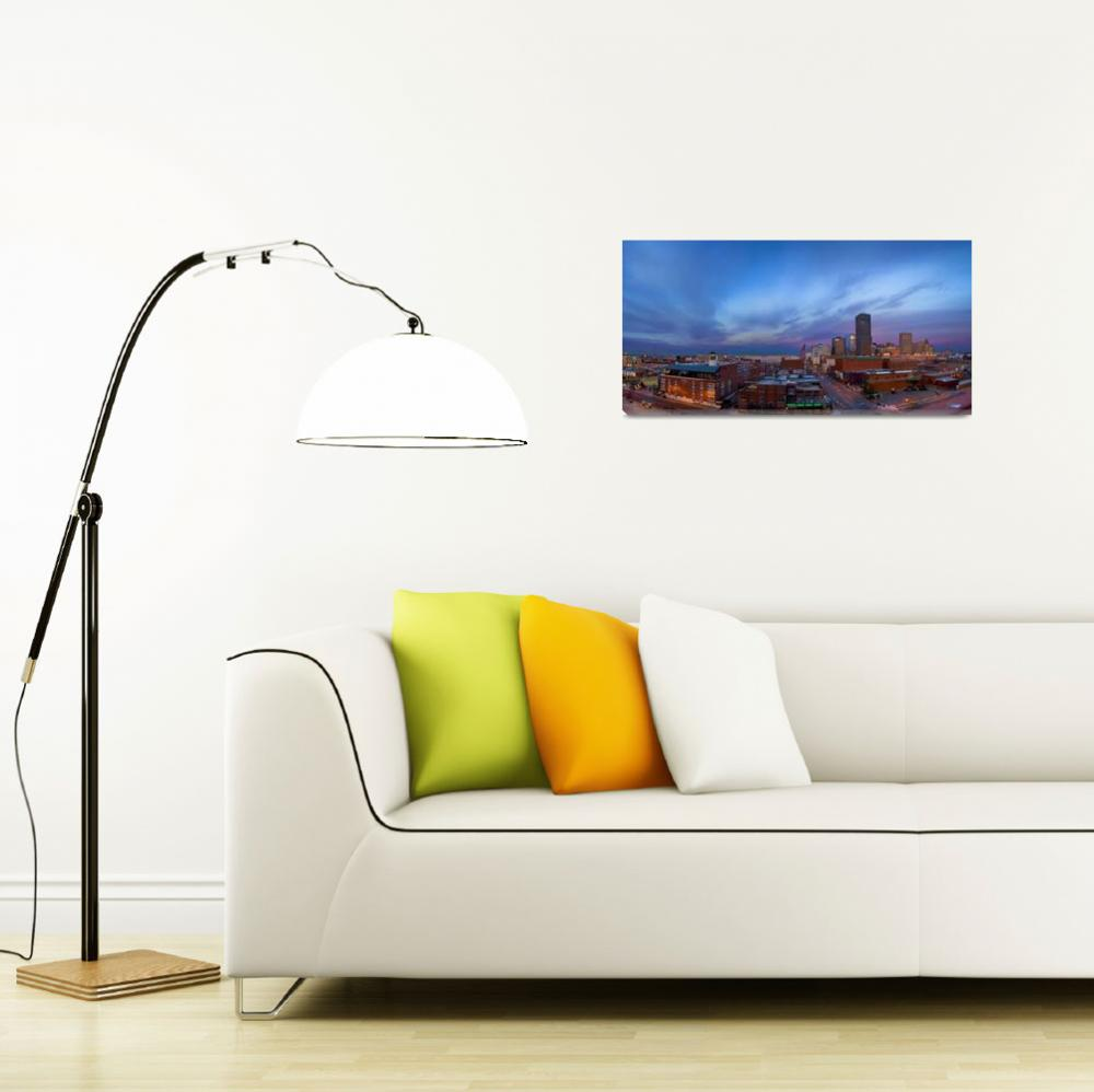 """Panorama Downtown Oklahoma City At Sunrise""  (2009) by palmsrick"
