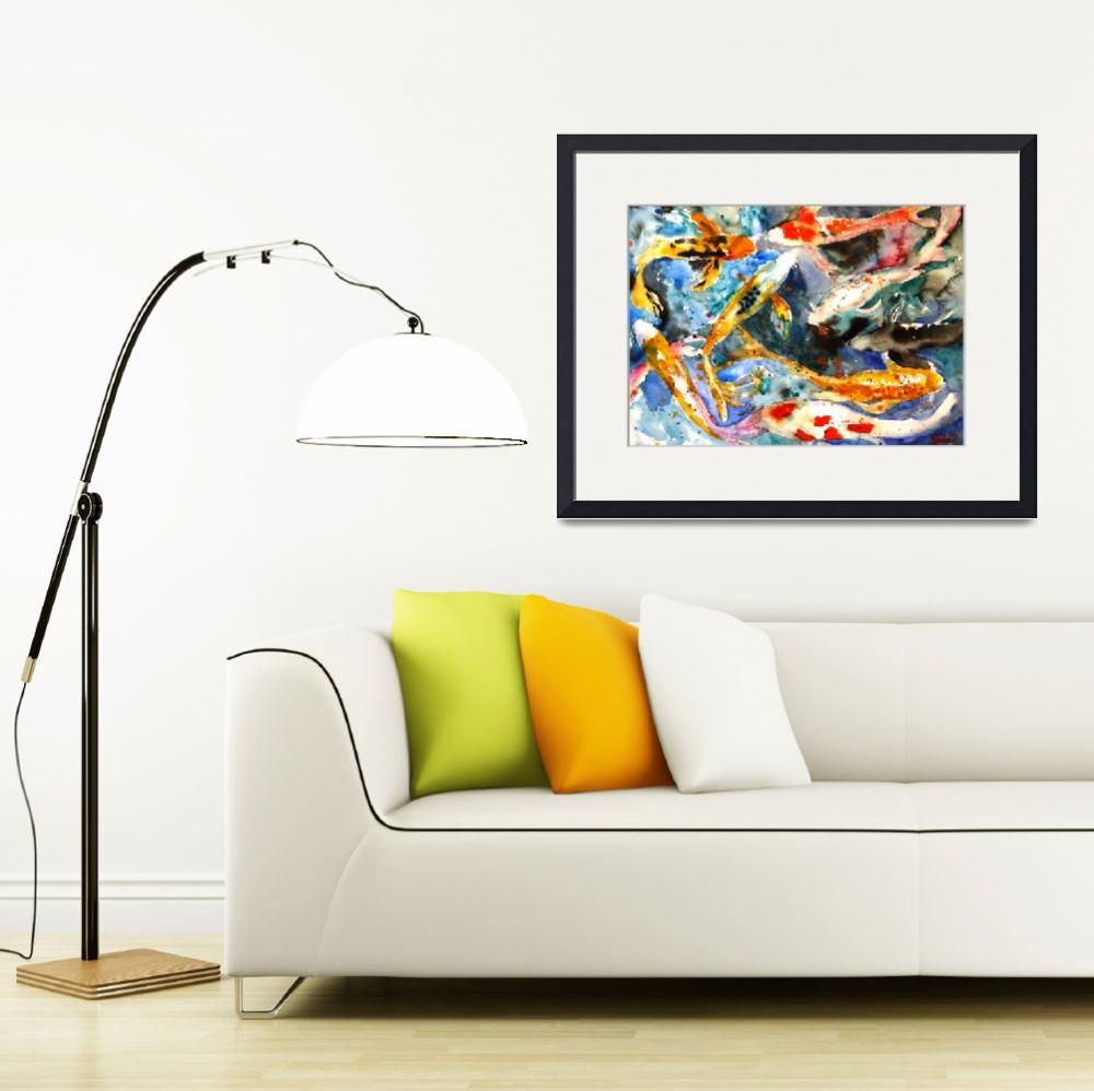 """""""Butterfly Koi, Abstract Watercolor Painting&quot  (2010) by schulmanart"""