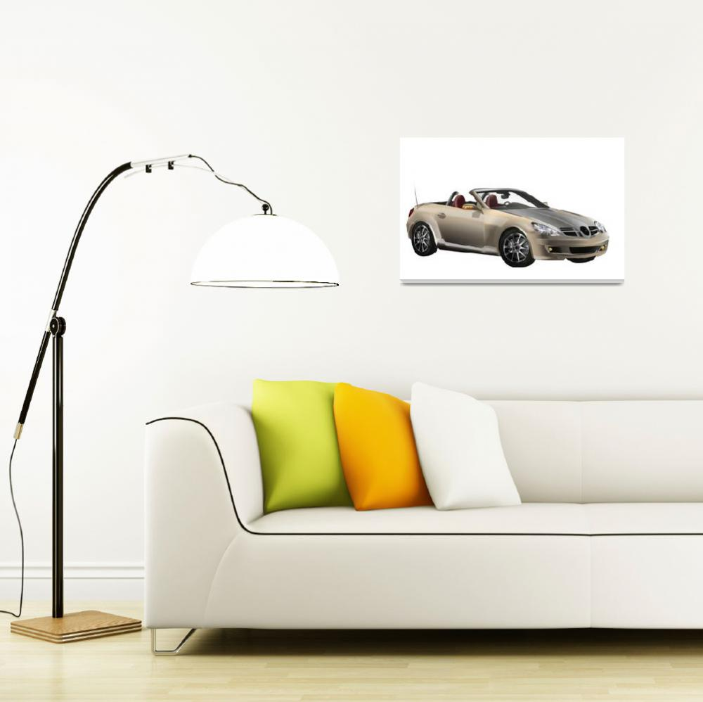 """""""Mercedes Benz Cabriolet profile view""""  (2008) by LAArtworks"""
