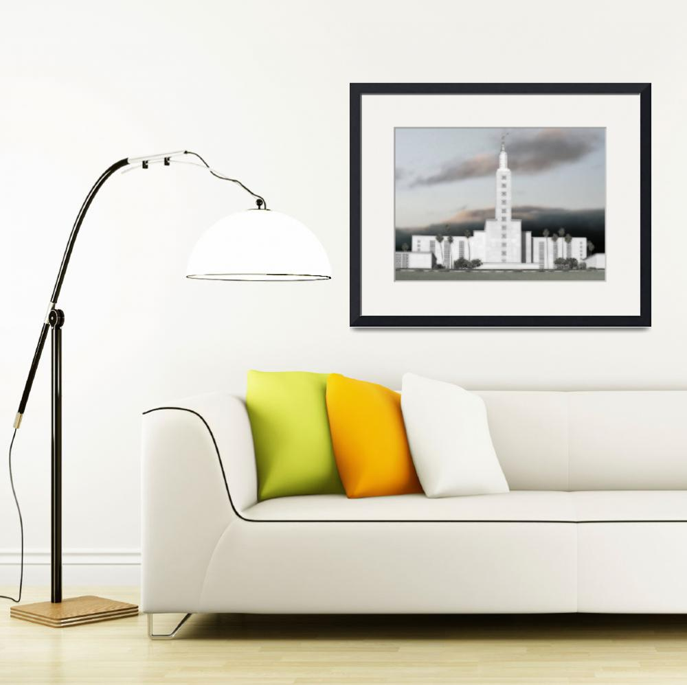 """""""Los Angeles Temple Large-16x22-tinted&quot  by TerrySpringer"""