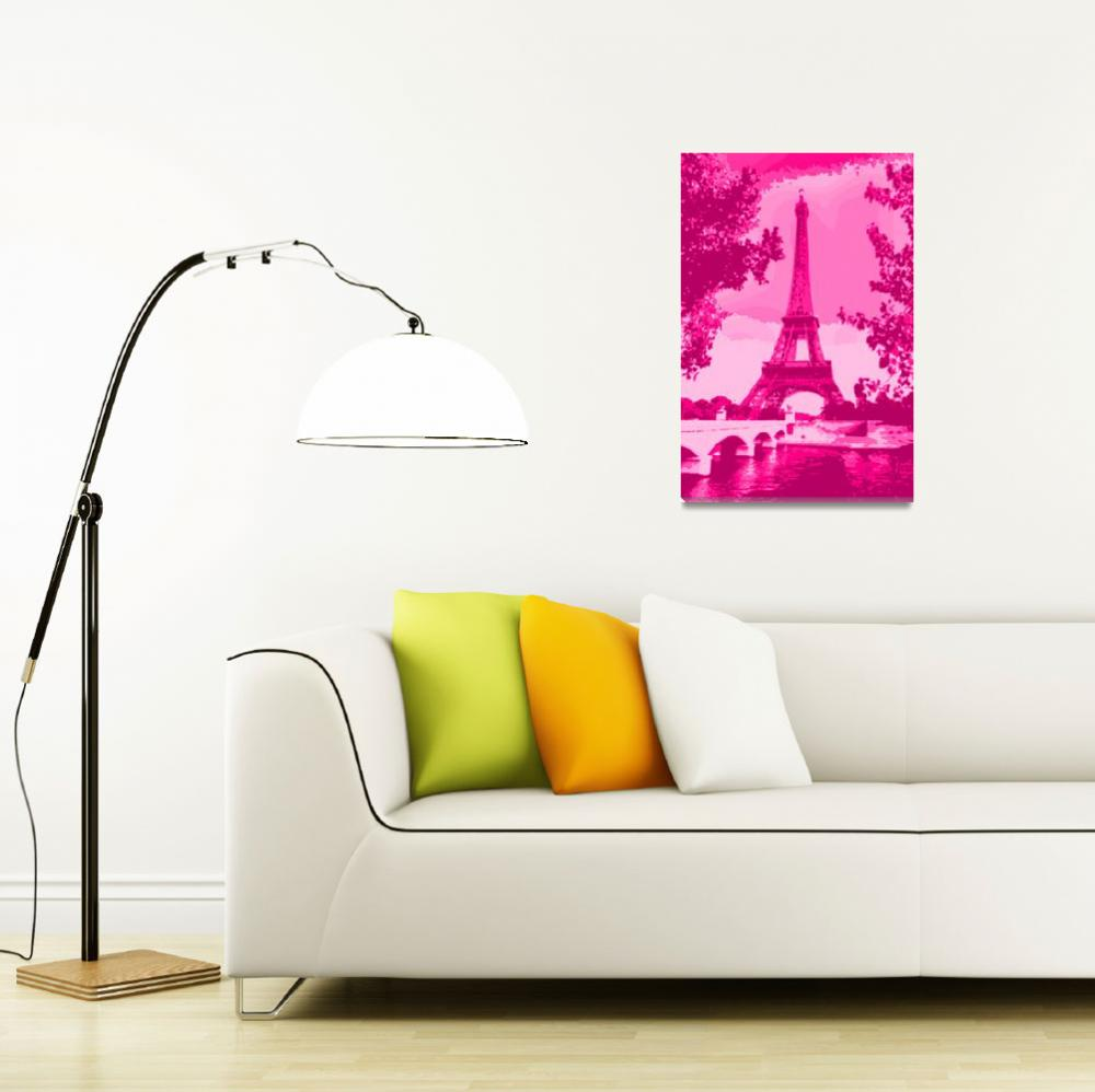 """""""Eiffel Tower Seine River Enhanced Pink Dark Red&quot  (2013) by TheNorthernTerritory"""