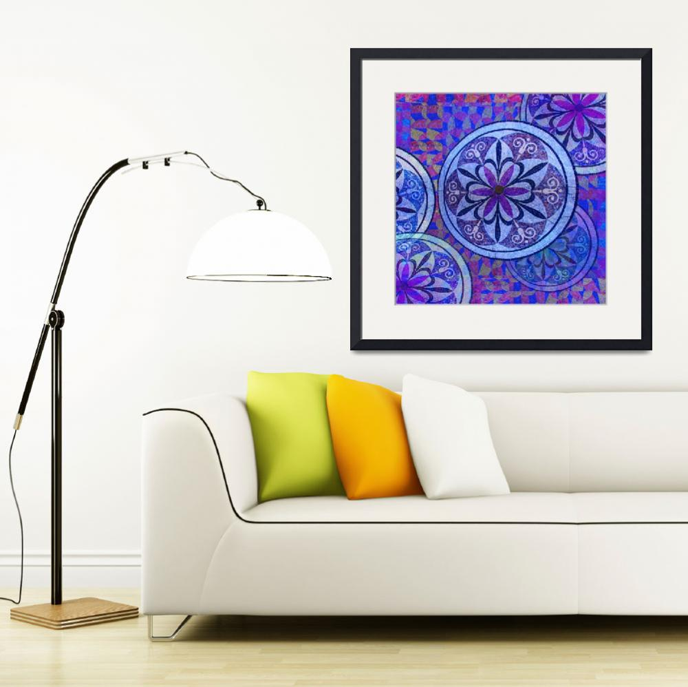 """""""Blue Mosaic Circles and Flowers""""  (2018) by RubinoFineArt"""
