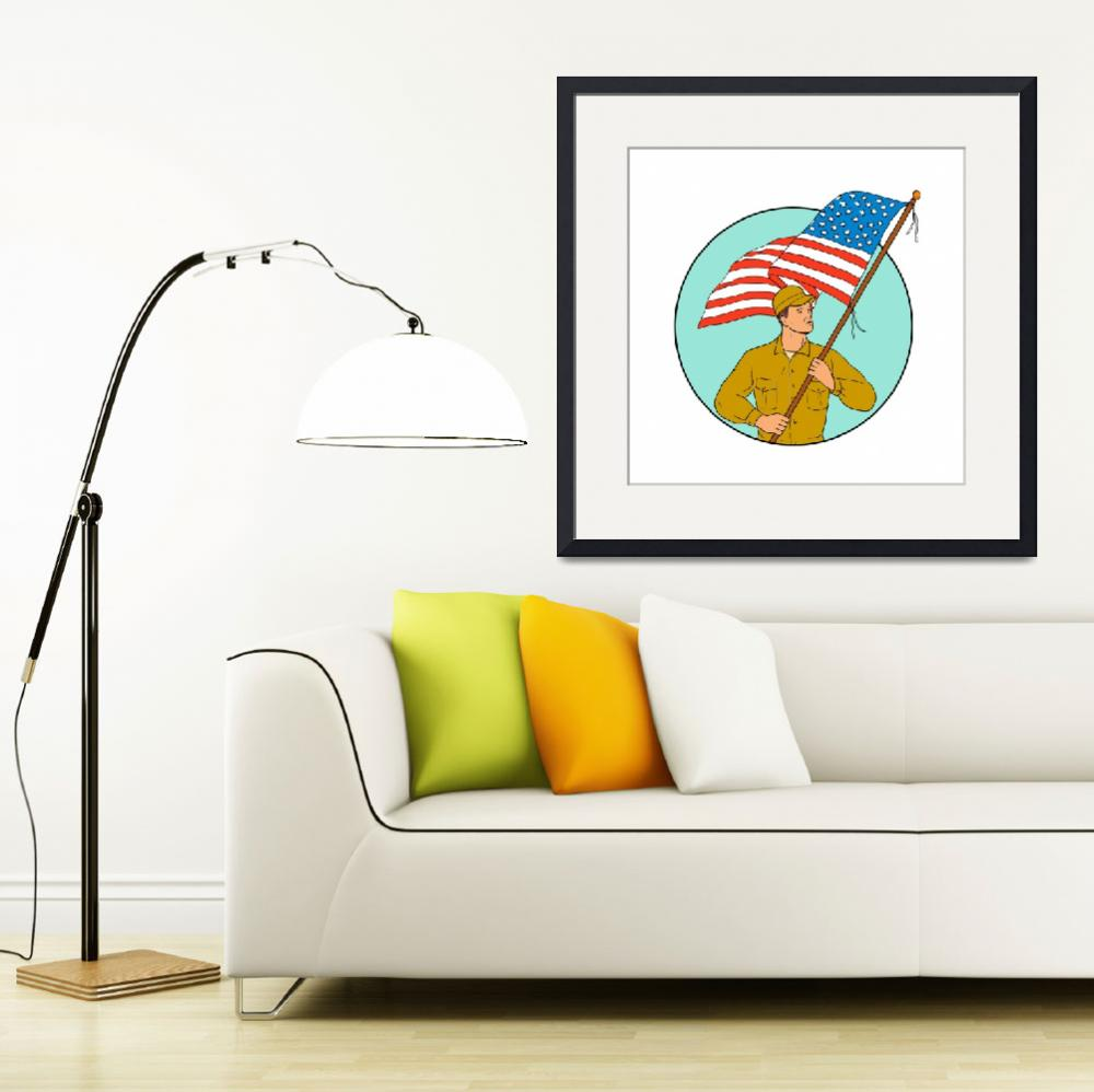 """""""American Soldier Waving USA Flag Circle Drawing&quot  (2017) by patrimonio"""