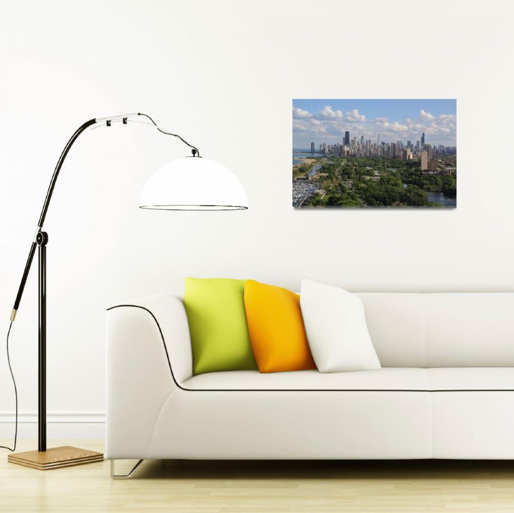 """""""Chicago skyline in summer""""  (2014) by mpaskvan"""