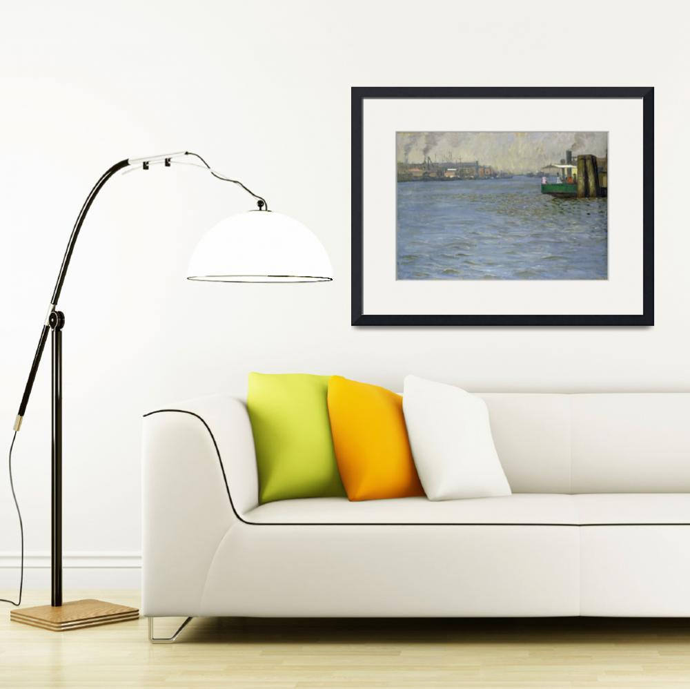 """Sunday Atmosphere on the Elbe, St. Paul Landing Br&quot  by fineartmasters"
