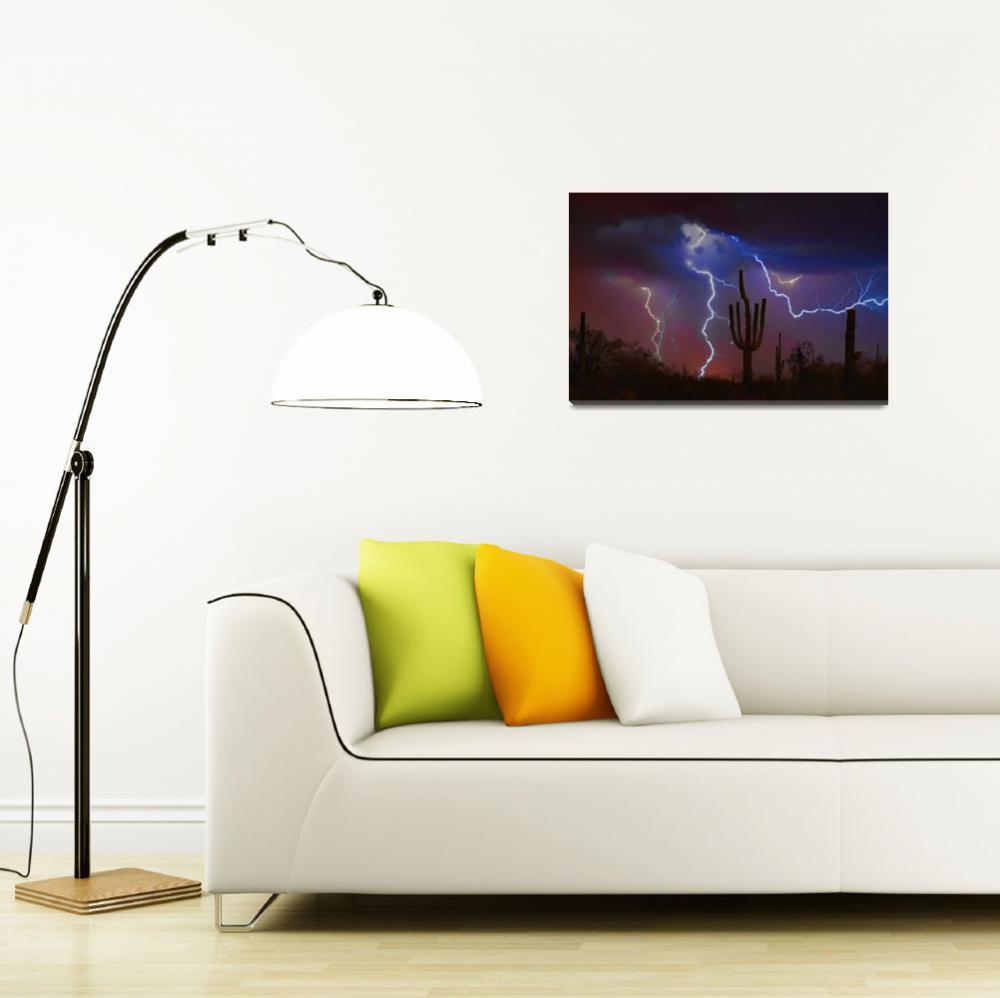 """Saguaro Lightning Strike Fine Art Photography&quot  (2008) by lightningman"
