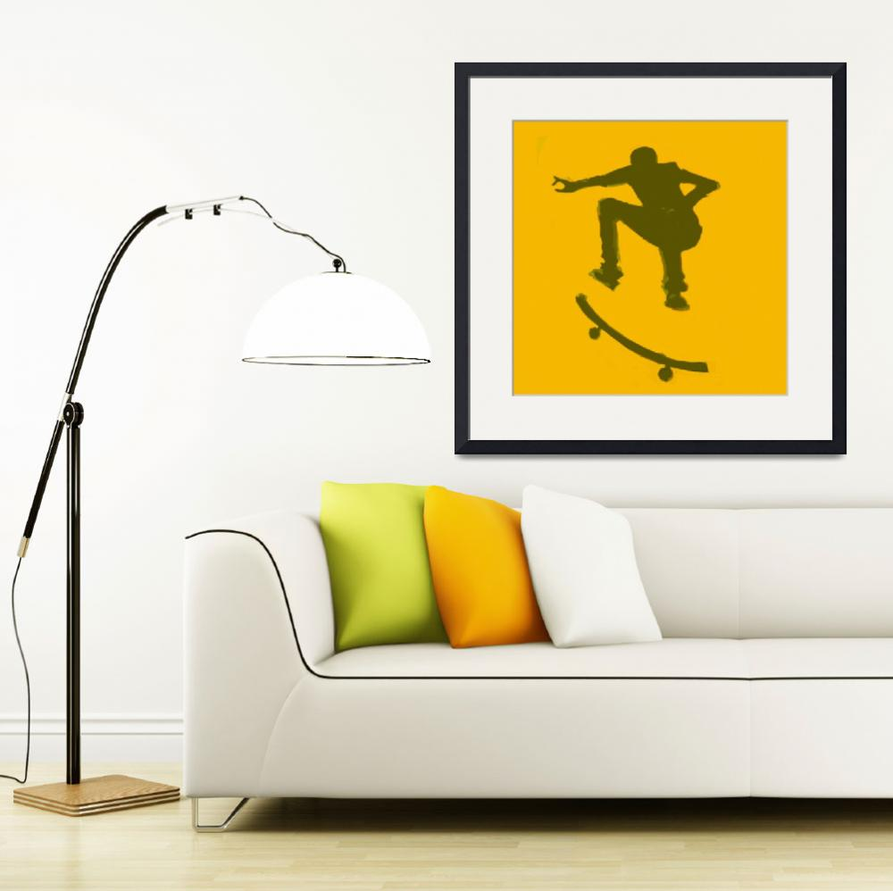 """""""Skateboarder 2 . gold brown (c)&quot  (2014) by edmarion"""