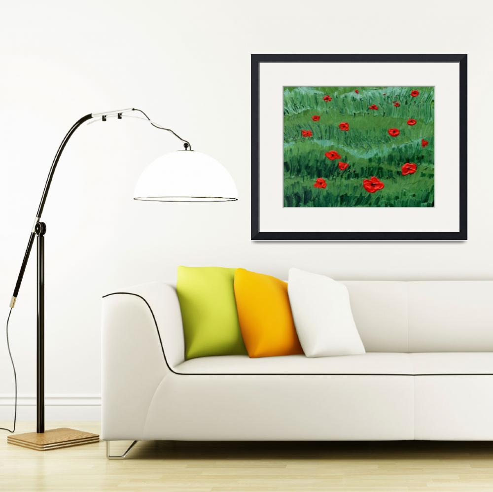 """Abstract Painting Of Red Poppy Field""  (2018) by IrinaSztukowski"