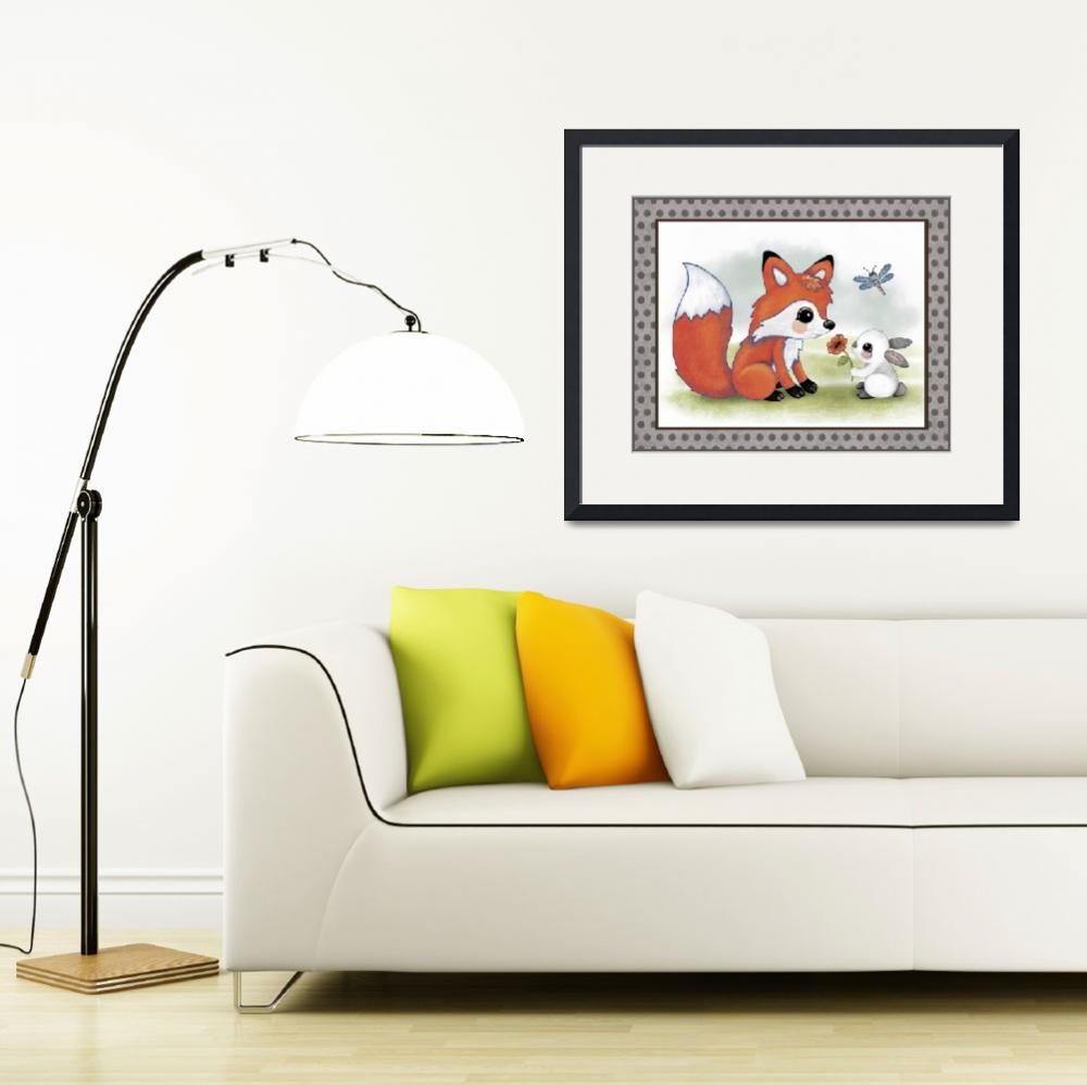 """""""Fox and Bunny - Woodland Animal Tales Nursery Art&quot  (2016) by Littlepig"""