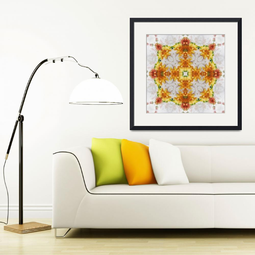 """Gold Chrysanthemum Kaleidoscope Art 1&quot  (2009) by ChristopherInMexico"