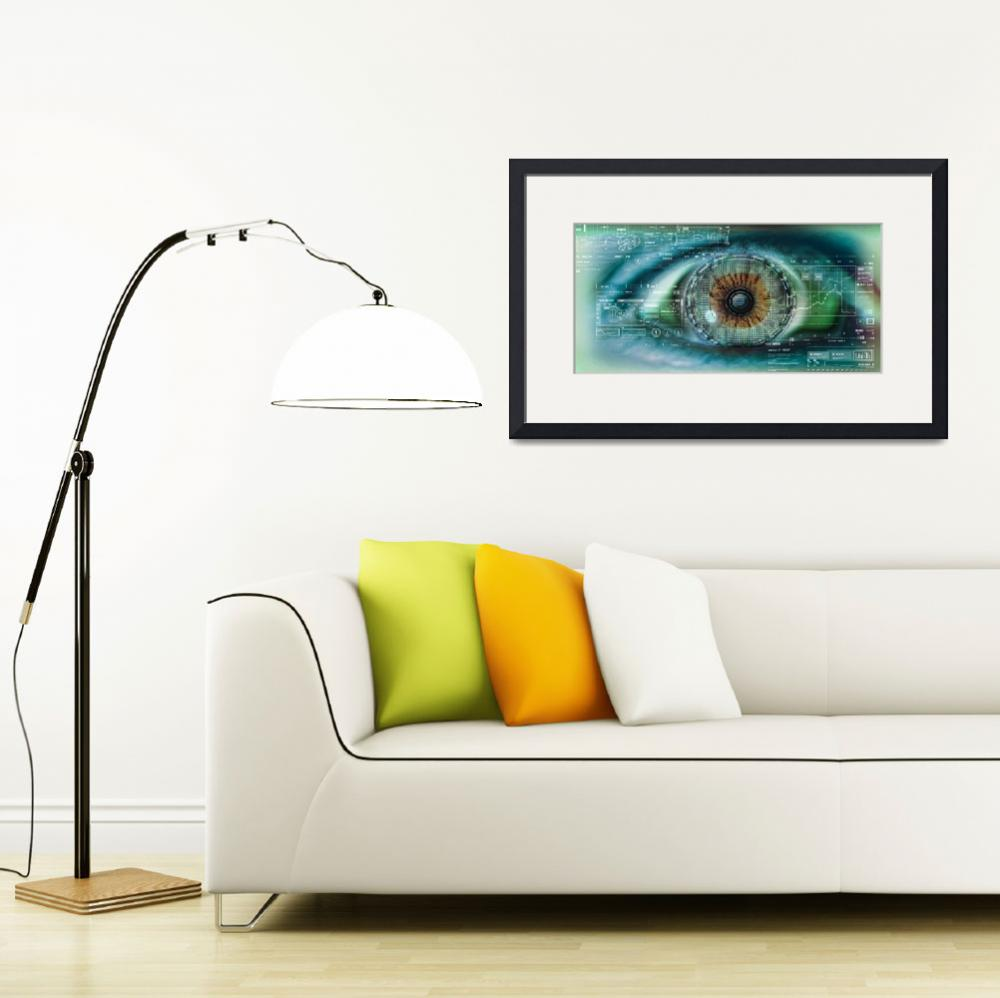 """""""Close up of an eye with tech diagrams in abstract""""  by Panoramic_Images"""