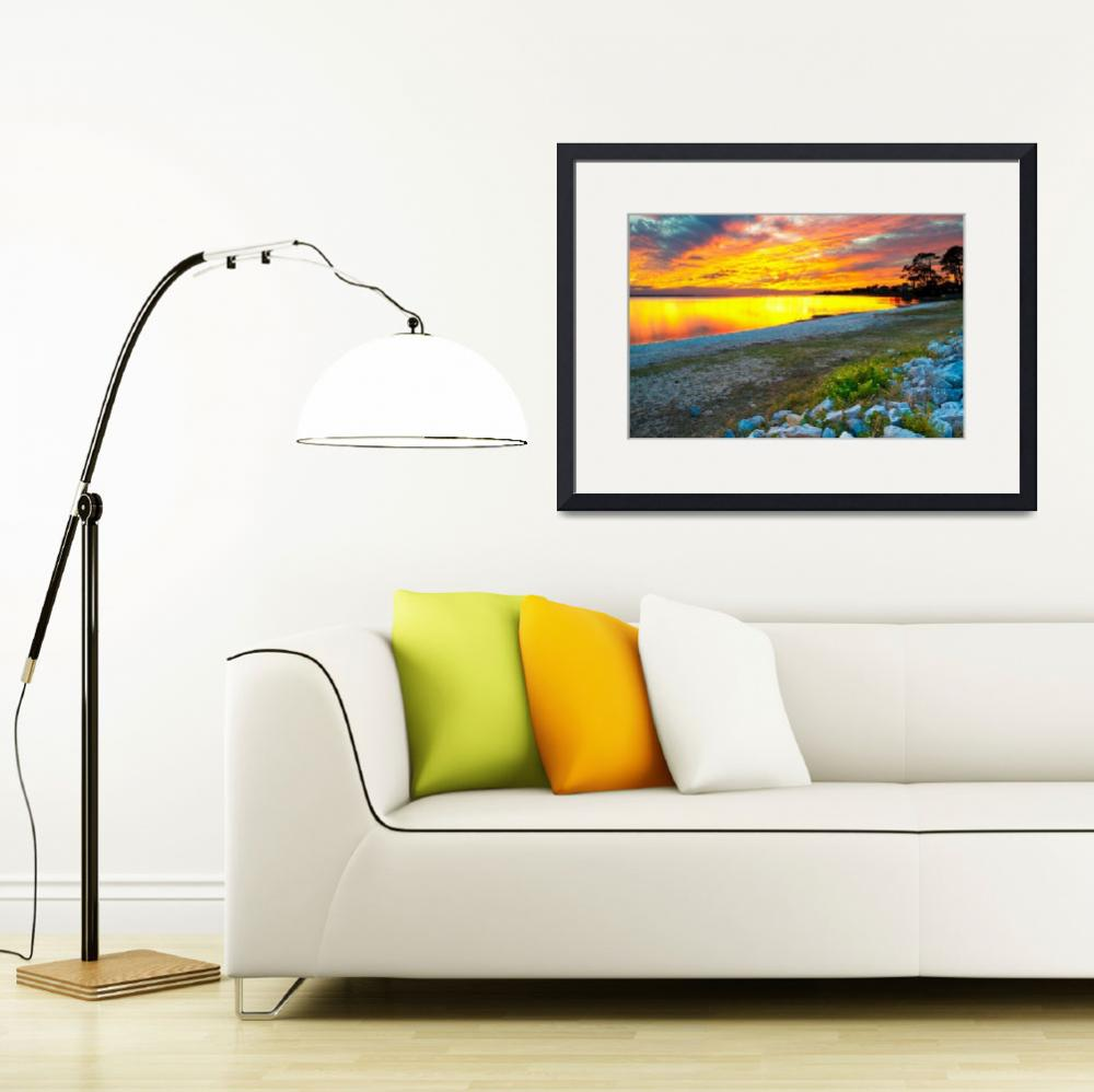 """""""Vibrant Orange and Red Sunset Lake Reflection Art&quot  (2014) by eszra"""