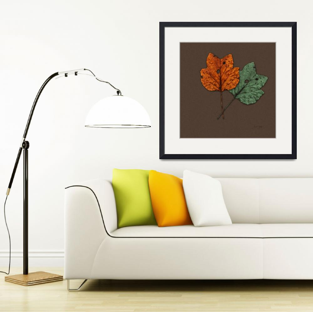 """""""Two Autumn Leaves Modern Minimalism by Ginette&quot  (2009) by GinetteCallaway"""