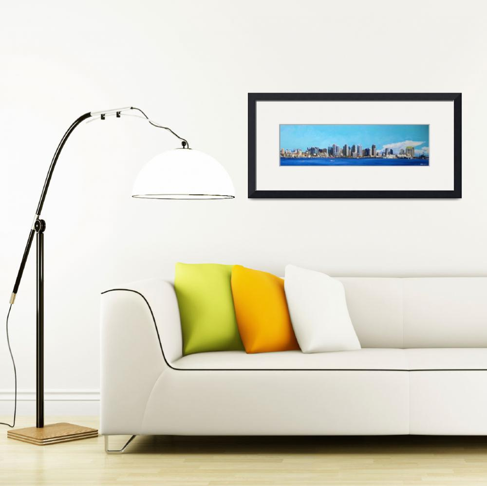 """San Diego California Skyline&quot  (2012) by RDRiccoboni"