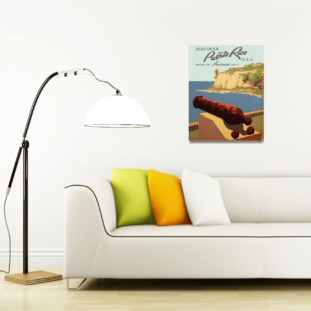 """""""Discover Puerto Rico Travel Poster""""  by Alleycatshirts"""