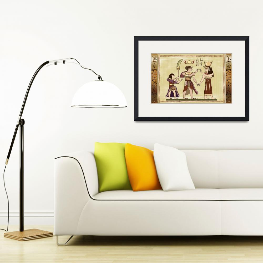 """""""Calling to The Gods Egyptian Folk Art&quot  (2012) by ReneeLozenGraphics"""