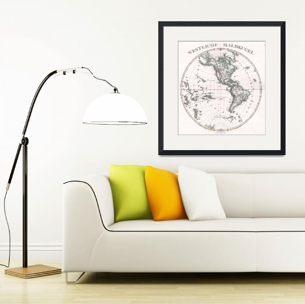 """""""Vintage Western Hemisphere Map (1873)&quot  by Alleycatshirts"""