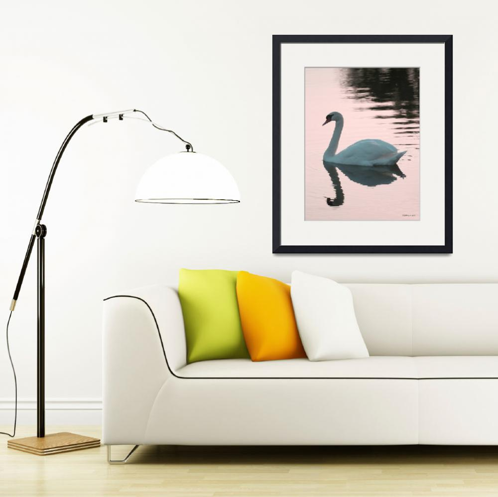 """""""Swan At Sunset by LAMeyer""""  (2010) by LAMeyer"""