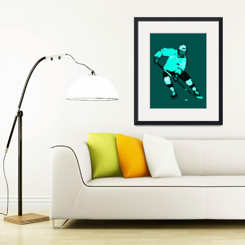 """""""Hockey Left Wing green black white (c)&quot  (2014) by edmarion"""