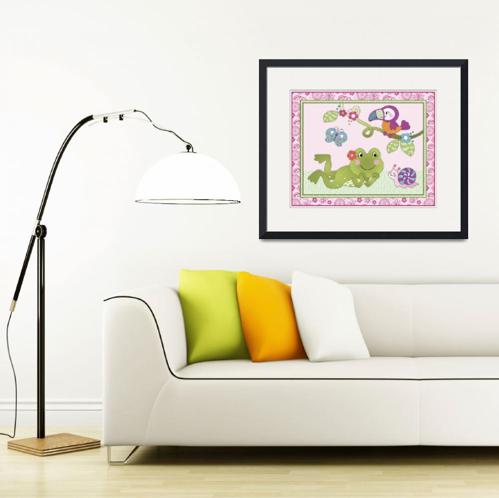 """""""Tropical Flamingo Garden - Frog and Toucan Nursery&quot  (2015) by Littlepig"""