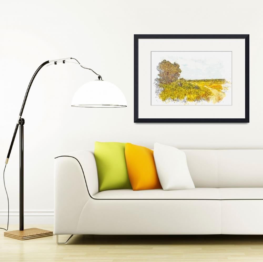 """Panoramic Plateau Dirt Road 2 -  watercolor by Ahm""  by motionage"