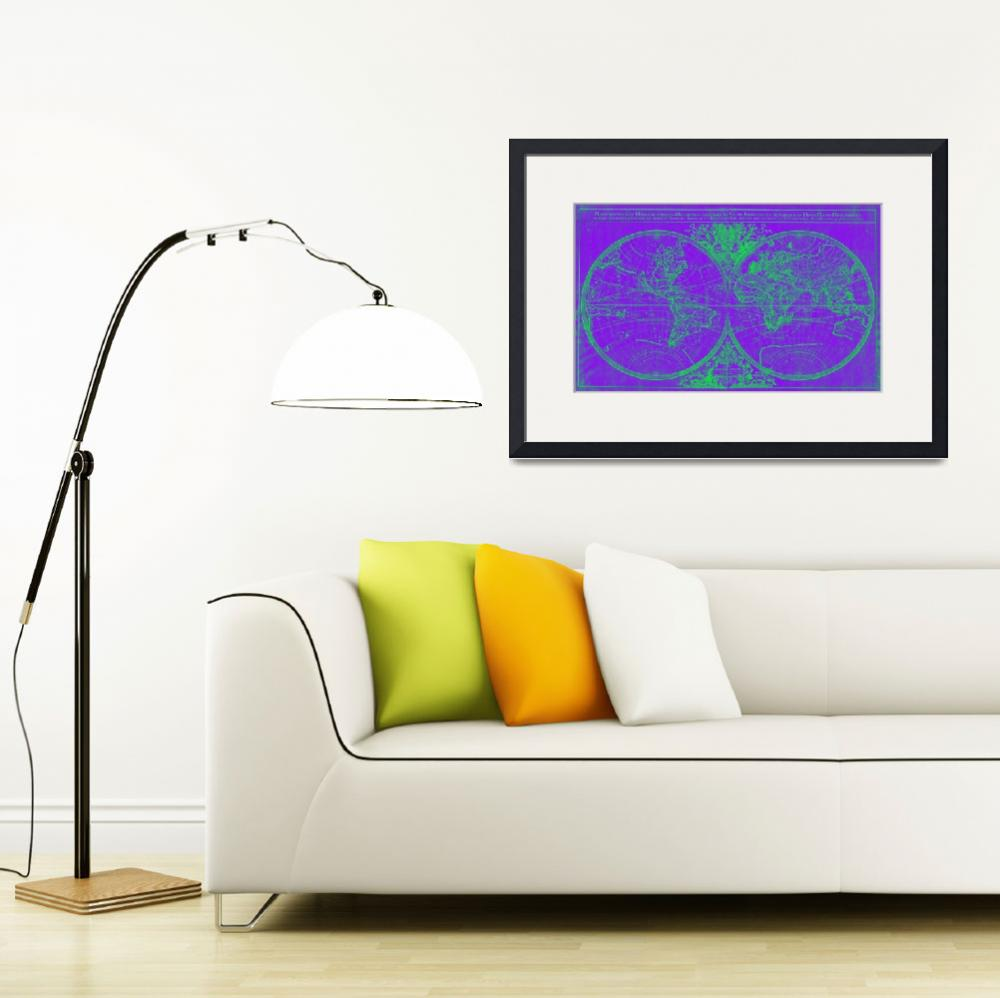 """World Map (1691) Purple & Green"" by Alleycatshirts"