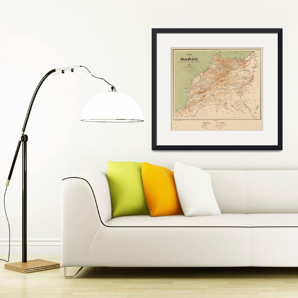 """""""Vintage Map of Morocco (1912)&quot  by Alleycatshirts"""