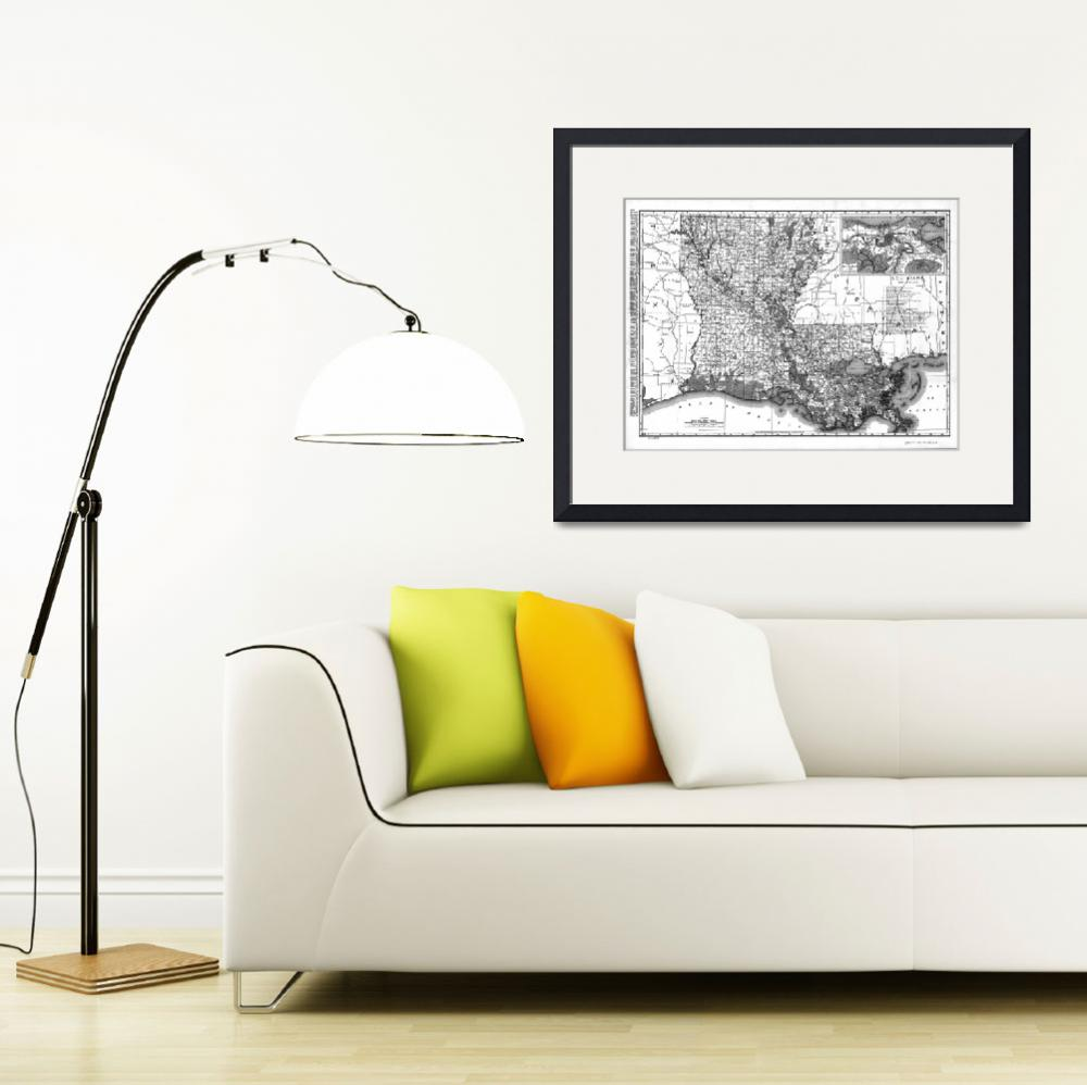 """Vintage Map of Louisiana (1896) BW&quot  by Alleycatshirts"