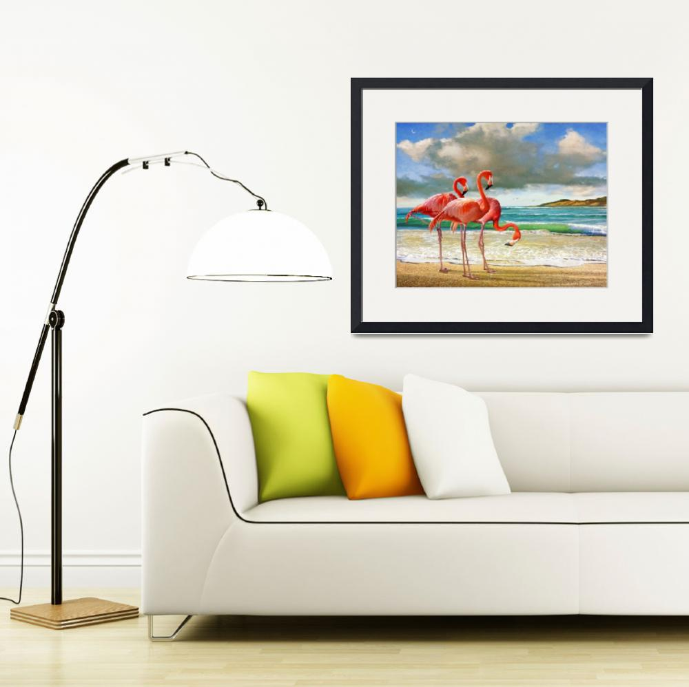 """flamingos on the beach&quot  (2015) by rchristophervest"