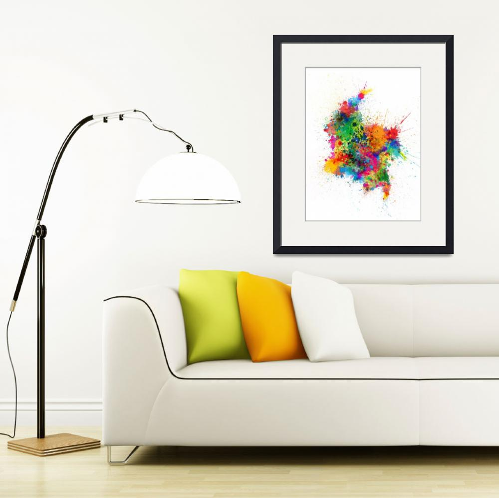"""Colombia Paint Splashes Map&quot  (2017) by ModernArtPrints"