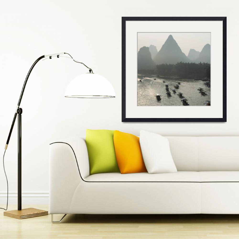 """Boats Along The Li River At Sunset, Guilin, Guangx&quot  by DesignPics"