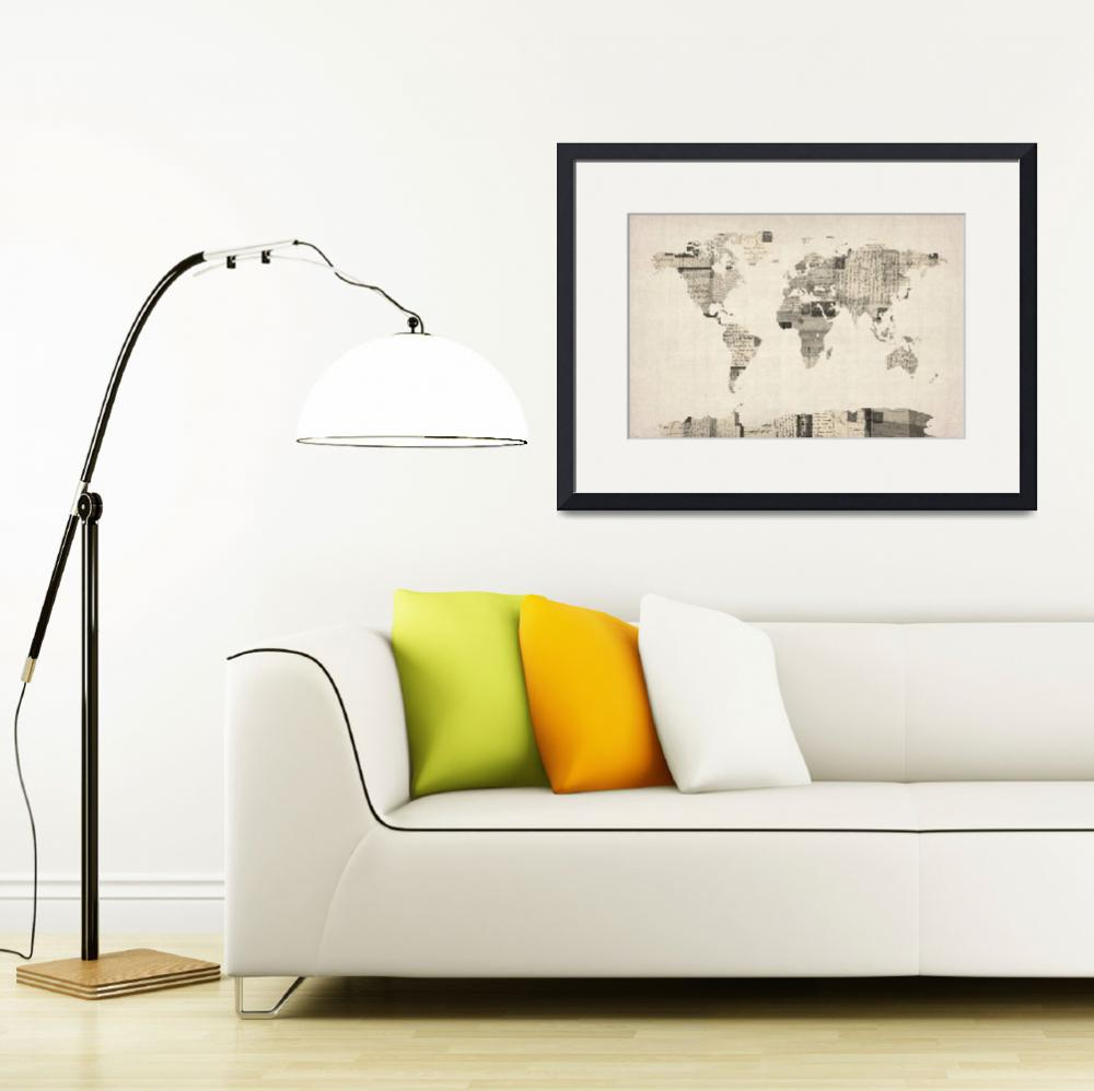 """""""Map of the World Map from Old Postcards&quot  (2012) by ModernArtPrints"""