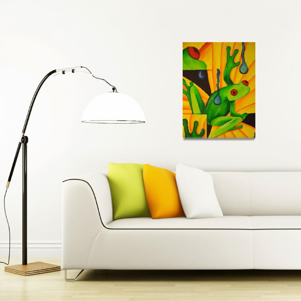 """""""Lime Green Tree Frog on Bright Yellow Leaf&quot  (2007) by mmm"""