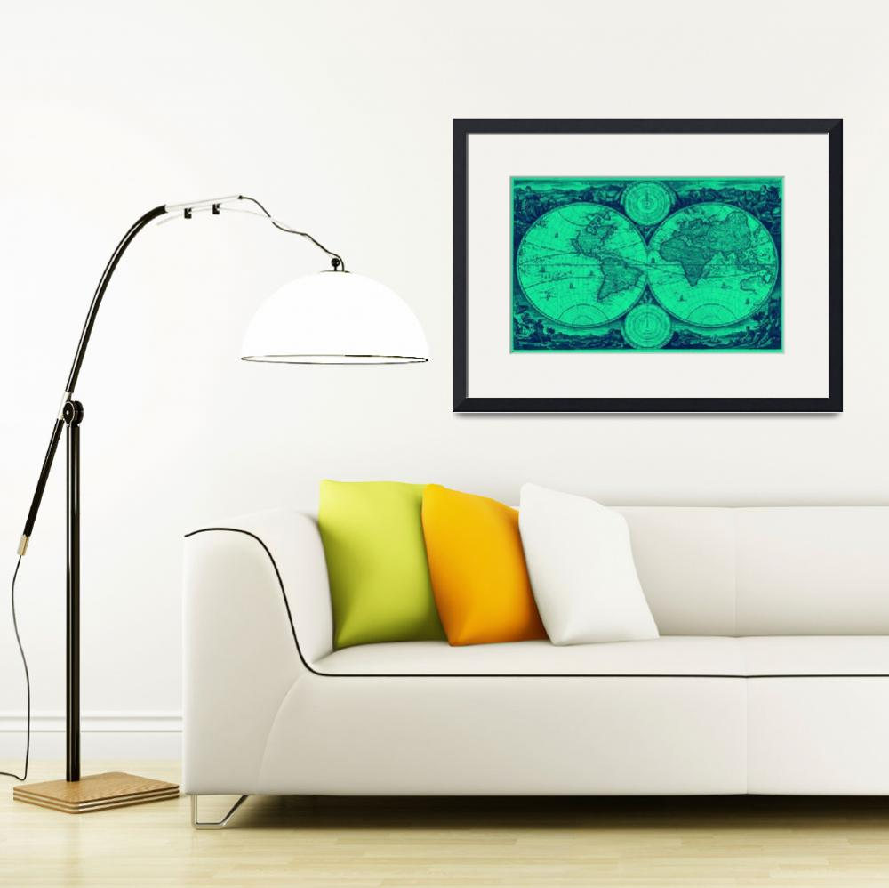 """""""World Map (1730) Light Green & Blue&quot  by Alleycatshirts"""