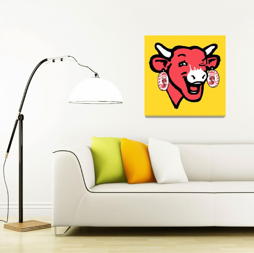 """The Laughing Cow Pop 1 - Pink on Yellow""  (2015) by peterpotamus"