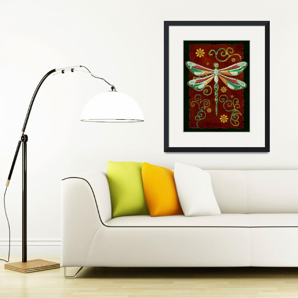 """Dragonfly 2 Mystic Folk Art&quot  (2013) by ReneeLozenGraphics"
