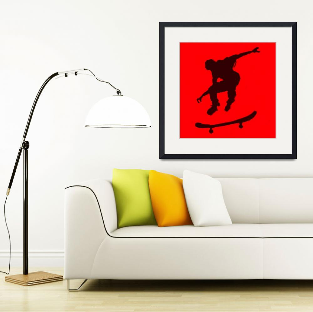 """""""Skateboarder 3 .  red black (c)&quot  (2014) by edmarion"""