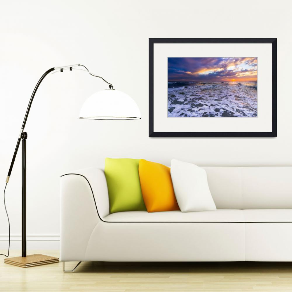 """White Waves Seascape and Orange Sunset Art Print""  (2014) by eszra"