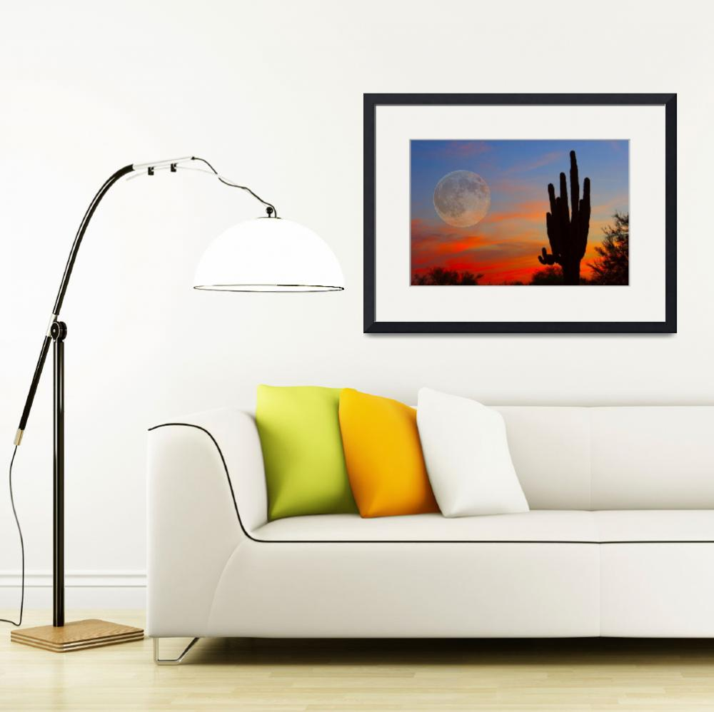"""Full Moon Saguaro Arizona Sunset""  (2010) by lightningman"