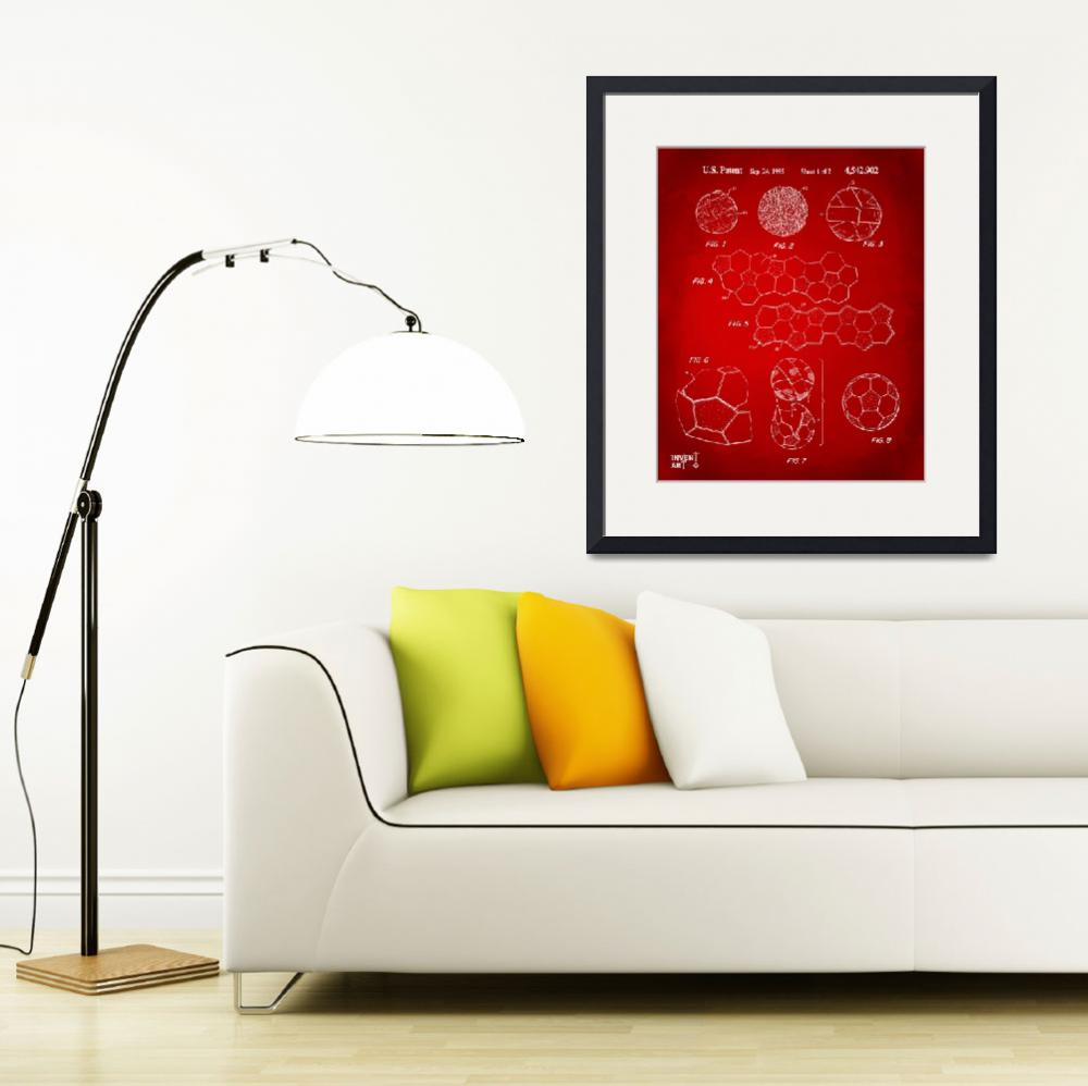 """""""Soccer Ball Construction Patent Artwork Red&quot  (2014) by nikkismith"""