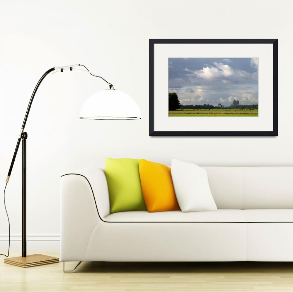 """""""Skyline Amsterdam business centre and cows.&quot  (2008) by edmondholland"""