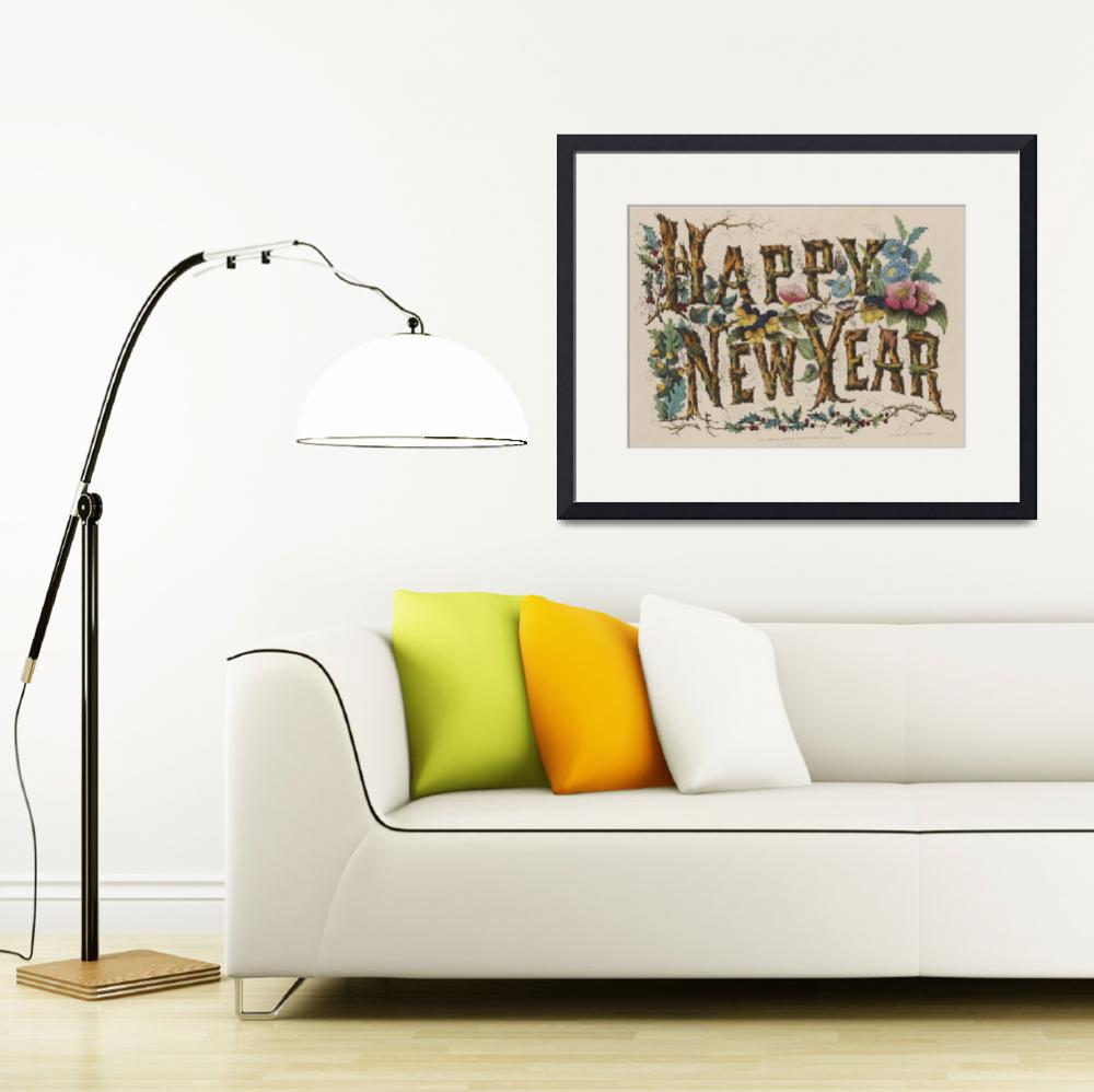 """""""Vintage Happy New Year Illustration (1876)&quot  by Alleycatshirts"""