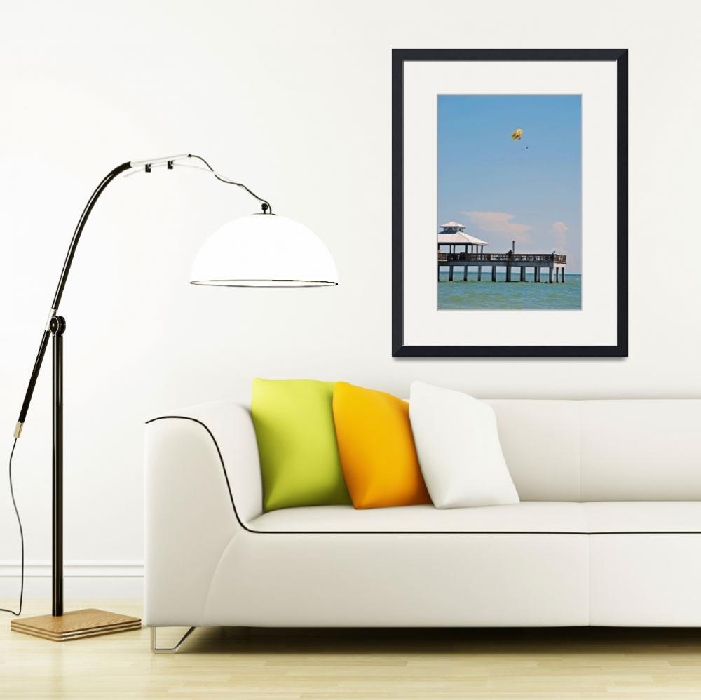 """""""Parasailing off the Ft Myers Pier&quot  (2009) by lwoodburn"""