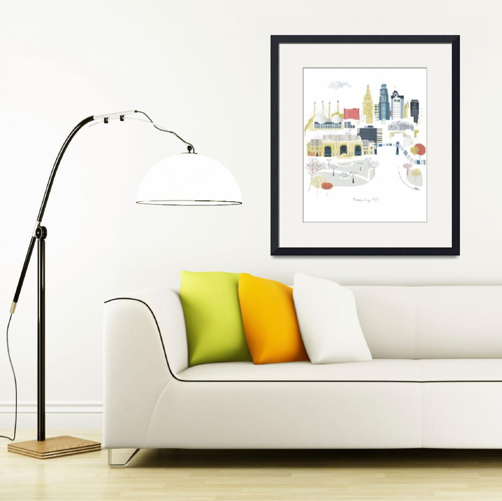 """""""Kansas City Modern Cityscape Illustration&quot  by AlbieDesigns"""