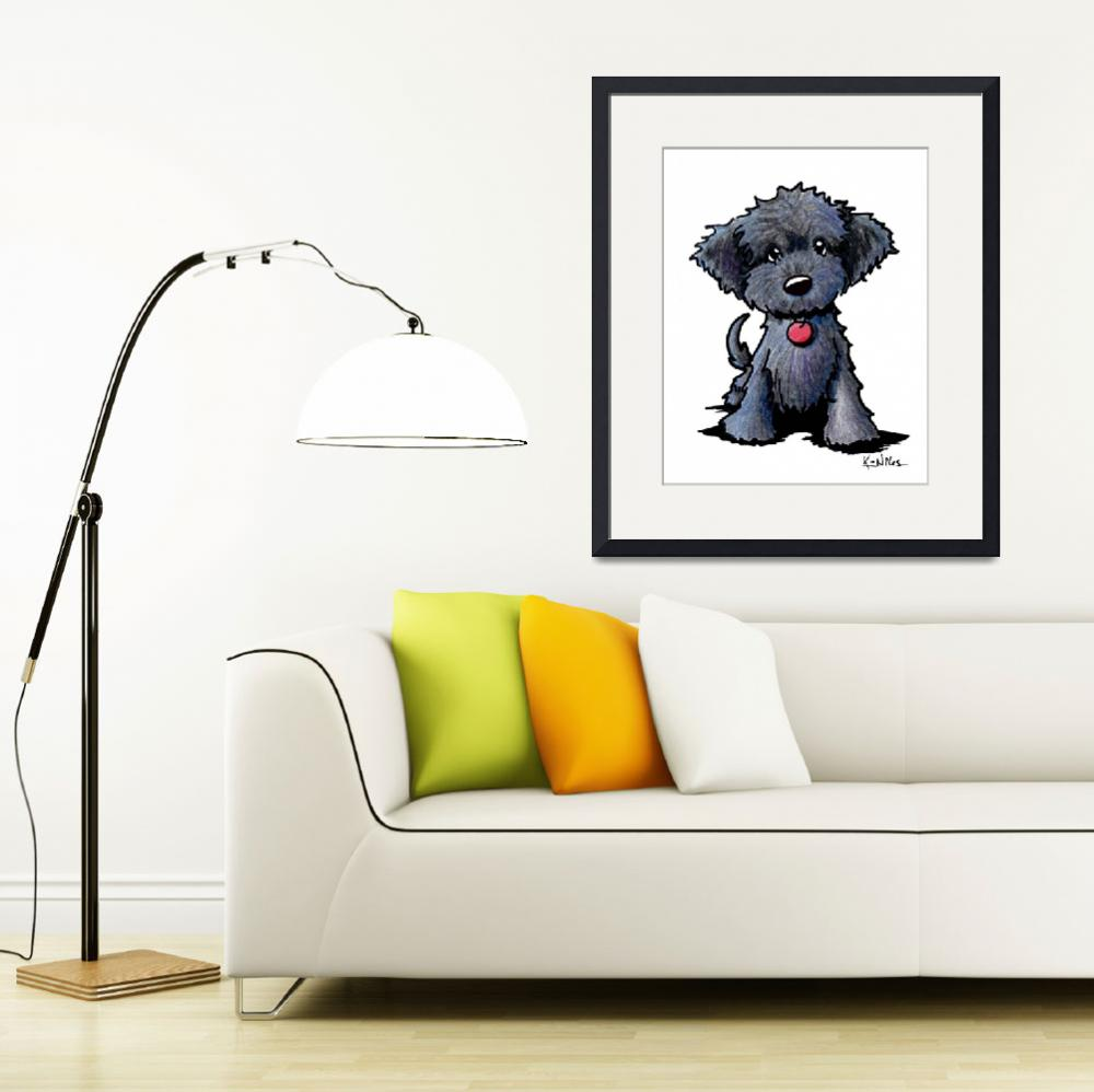 """""""Black Doodle Puppy&quot  (2012) by KiniArt"""