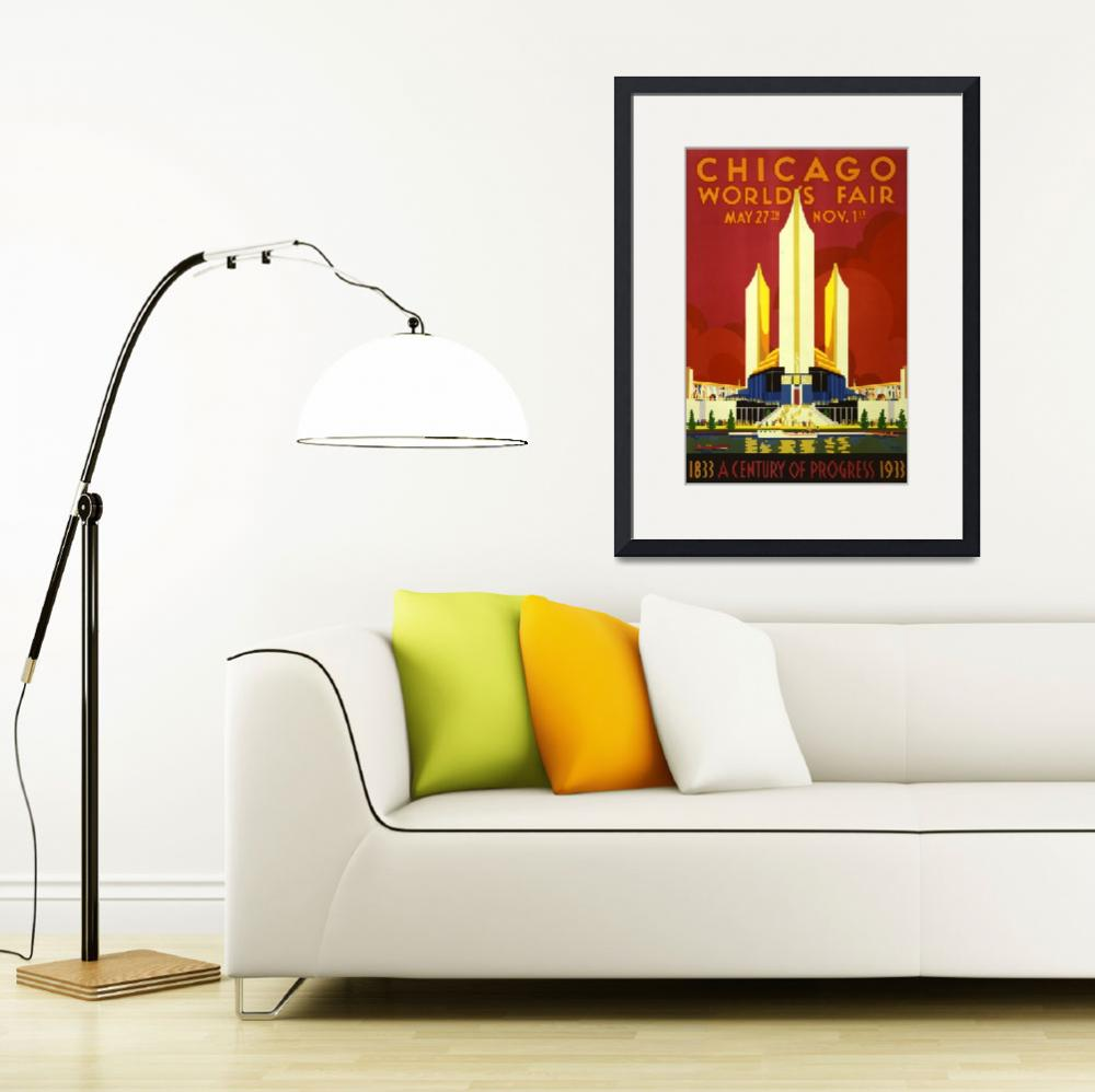 """Chicago Worlds Fair 1933 Vintage Poster&quot  by FineArtClassics"