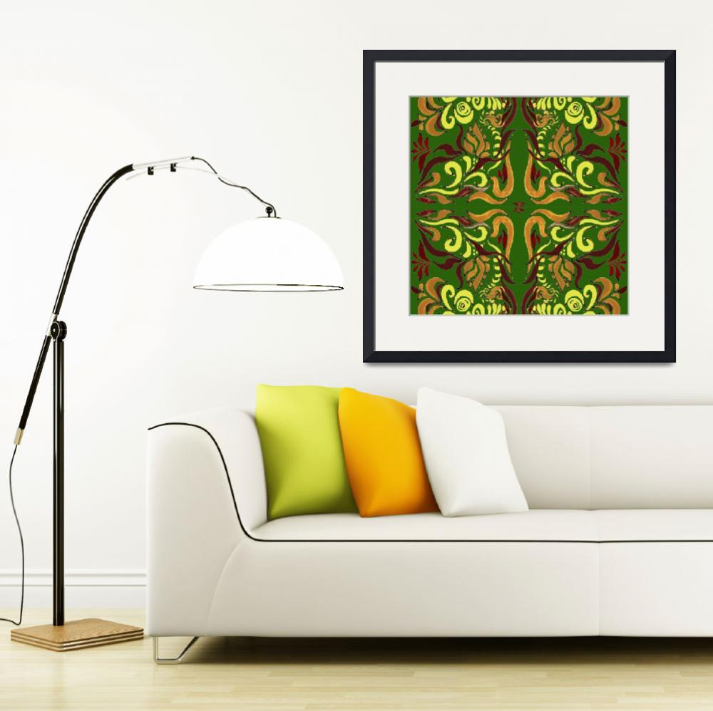 """Whimsical Organic Pattern In Green And Yellow I""  (2016) by IrinaSztukowski"